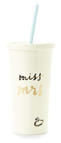 Kate Spade New York Bridal Insulated Tumbler with Reusable Straw, 20 Ounces, Miss to Mrs. (White)]()