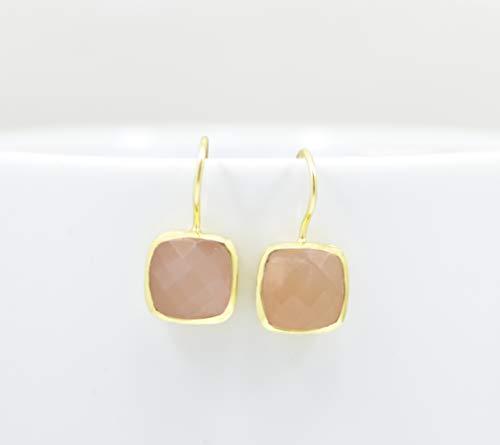 Square Peach Moonstone Gold Plated Earring Silver 925, Light Orange Gemstone Vermeil