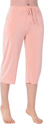 Nuosha-BABY Womens Pajama Capri Pants Soft Sleepwear Bottoms with Big Pockets Pale Pink S (Pajama Bottoms For Tall Women)