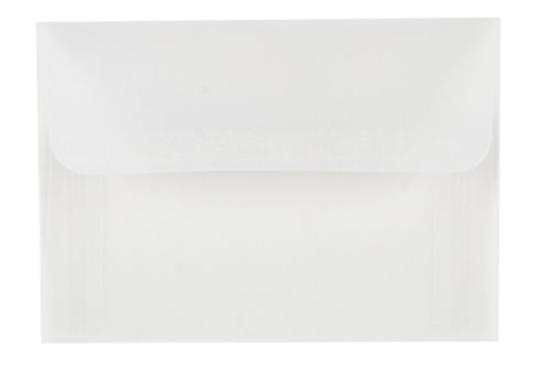 A1 Size Envelopes - 50-Pack Translucent Vellum RSVP Envelopes, Self Seal Square Flap Envelopes for Wedding and Party Invitations, Announcements, Greeting Cards, Clear Translucent White, 3.6 x 5.1 Inch ()