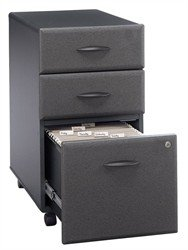 Bush Business Furniture Three-Drawer Rolling File Cabinet in Slate - Series A