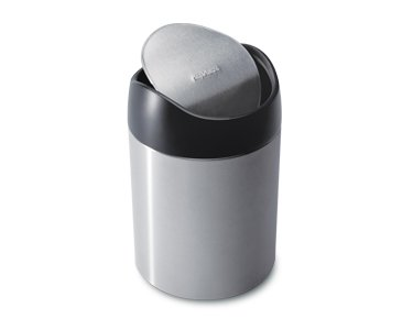 simplehuman 1.5 Liter / 0.40 Gallon Countertop Trash Can, Brushed Stainless Steel by simplehuman