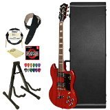 GuildS-100 Polara CHR Solid Body Electric Guitar, Cherry Red with Guild Hard Case, ChromaCast Electric Strings, Cable, Strap, Picks, Stand and Polish - Strings Guitar Guild