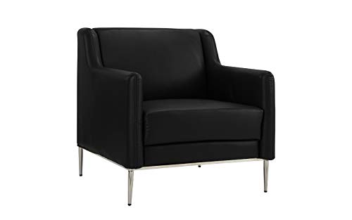 Black Leather Accent Chair - Modern Living Room Leather Armchair, Accent Chair (Black)