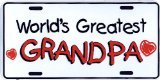 World's Greatest Grandpa Embossed Metal Auto Tag - Worlds Greatest Tag