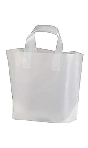 Frosted Plastic Case - Recycled Clear Frosted Plastic Shopping Bags - (12