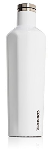 - Corkcicle Canteen - Water Bottle and Thermos - Keeps Beverages Cold for Over 25, Hot for Over 12 Hours - Triple Insulated with Shatterproof Stainless Steel Construction - GlossWhite - 25 oz.