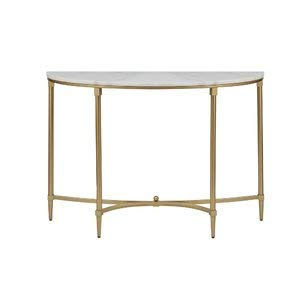 Metal Console Table With Marble Top   Demilune Console Table With Gloss  Finish   Gold