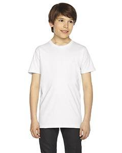 American Apparel 2201W Youth Fine Jersey T-Shirt, White, 12