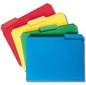 SMEAD Waterproof Poly File Folders, 1/3 Cut, Top Tab, Letter, Assorted, 24/Box (Case of 4)
