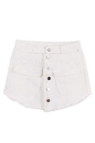 Libre Con De Alta Bolsillos Un Color Pecho Cortos Sólido Cintura Mezclilla Aire Mujer Solo Al Pantalones Whitee Borlas Stretch Culottes g5UwqxnO8