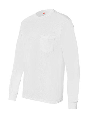 Hanes TAGLESS 6.1 Long Sleeve Tee with Pocket, M-White