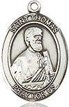 Sterling Silver St. Thomas Apostle Medal-Pendant with 20