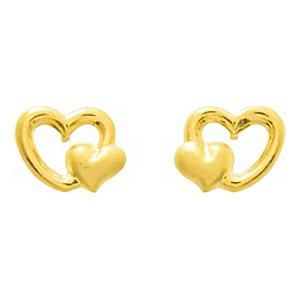 So Chic Bijoux © Boucles d'oreilles Femme Fille Double Coeur Or Jaune 750/000 (18 carats)