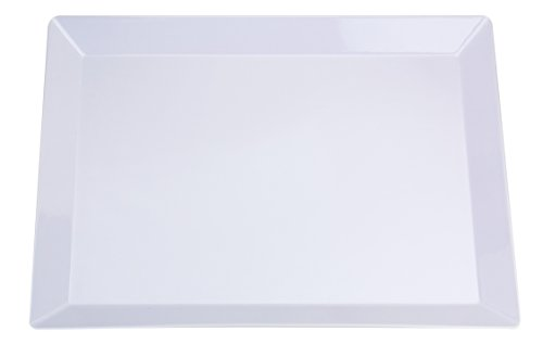 "Set of 2 | NOMsquared Large Rectangular White Plastic Serving Tray. 18"" x 13"" 100% Melamine, BPA Free, Elegant, Heavy Duty, Durable. Perfect serving plate or platter for dinner parties, bbq's & baking"