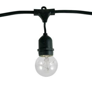 48 ft. Patio Light Stringer - 15 G16 Medium Base Bulbs and Sockets - 36 in. Spacing - Commercial Duty - Black Wire - Cable Hangers