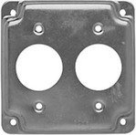 Hubbell-Raco 807C 4'' Square Exposed Work Cover, (2) Single Receptacles