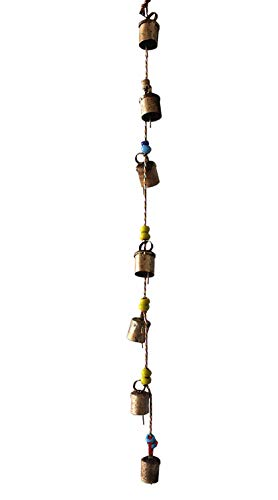 Mango Gifts Decorative String of 7 Metal Vintage Indian Style Wall Hanging Bells
