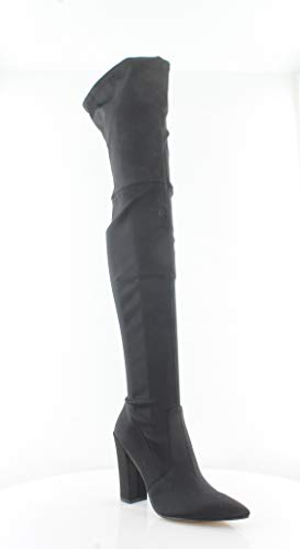 Dolce Vita Women's Ellis Thigh High Stretch Boots, Onyx, 8.5 M US