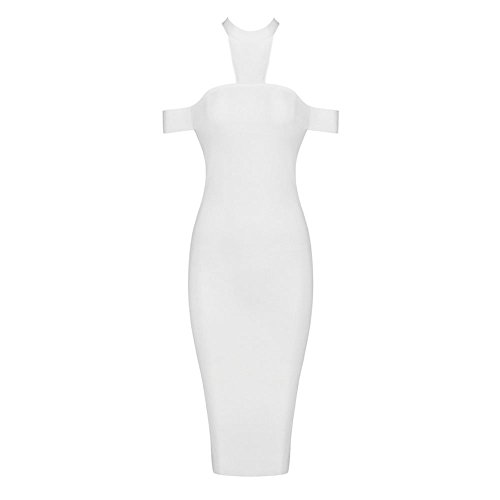 HLBandage Off The Shoulder Halter Neck Knee Length Bandage Dress Blanco