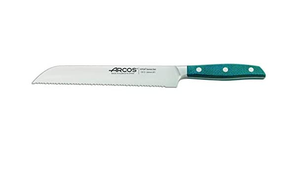 Arcos Serie Brooklyn - Cuchillo Panero - Hoja de Acero Inoxidable Forjado NITRUM 200 mm - Mango de Micarta Color Azul (Filo Seda): Amazon.es: Hogar