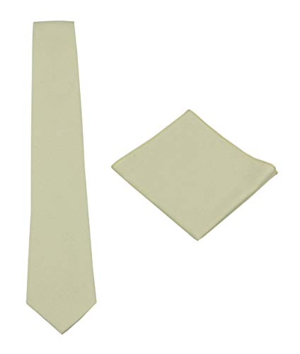 Mens Solid Linen Tie Set : Necktie with Matching Pocket Square-Various Colors (Ivory)
