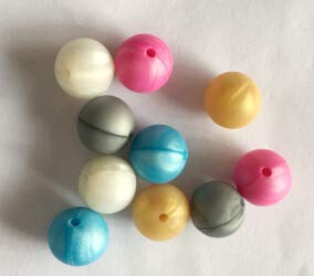 Calvas 100 pcs Silicone Chewing/Teething Beads, Food Grade. Round 15mm, Pearl White,Pearl Blue,Pearl Fuchsia. - (Color: Mixed 6 Colors)