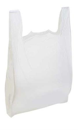Large Plastic Grocery T-shirts Carry-out Bag Plain White 12 X 6 X 21 100ct, -