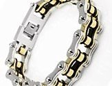 - LiteXim Heavy-duty Bracelet 316L Stainless Steel Men's Bycicle Bike Chain Bracelet Fold Over Clasp