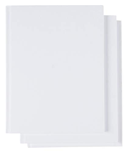Hardcover Blank Book - 3-Pack Unlined Sketchbooks, Unruled Plain Travel Journals for Students Sketches, Children's Writing Books, Creative Class Projects, White, 6 x 8 Inches, 18 Sheets Each