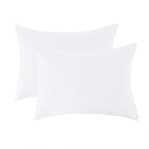 uxcell Zippered Standard Pillow Cases Pillowcases Covers, Egyptian Cotton 300 Thread Count, 20 x 26 Inch, White, Set of 2