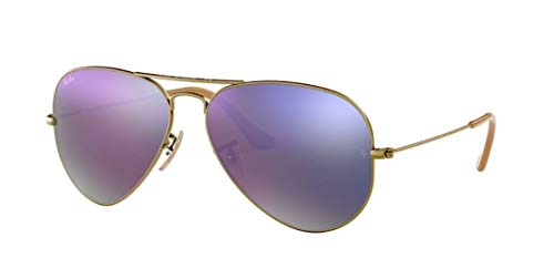 Ray Ban RB3025 AVIATOR LARGE METAL 167/4K 55M Demiglos Brushed Bronze/Lilac Mirror Sunglasses For Men For Women