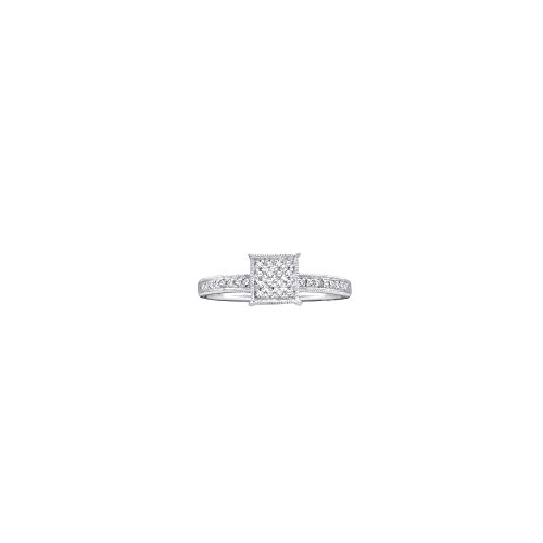 Size - 10 - Solid 10k White Gold Round White Diamond Engagement Ring OR Fashion Band Micro Pave Set Square Shape Solitaire Shaped Ring (1/10 cttw) - Round Natural Solitaire Diamond
