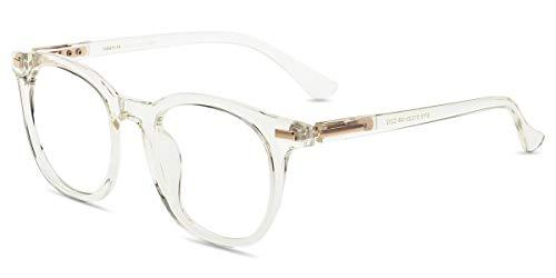 Firmoo Blue Light Blocking Glasses Women, Clear Frame Computer Eyeglasses, UV Protection Anti Glare Retro Round Ultra Lightweight ()