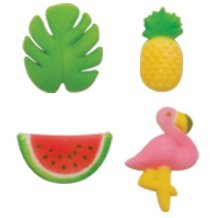 24pk Tropical Summer Flamingo Pineapple & More 5/8'' - 1 1/2'' Edible Sugar Decoration Toppers for Cakes Cupcakes Cake Pops w. Edible Sparkle Flakes & Decorating Stickers by CakeSupplyShop