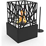 (Regal Flame Bruno Ventless Indoor Outdoor Fire Pit Tabletop Portable Fire Bowl Pot Bio Ethanol Fireplace in Black - Realistic Clean Burning like Gel Fireplaces, or Propane Firepits)