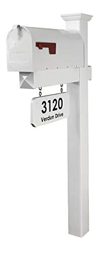4EVER The Harrison Vinyl/PVC Mailbox Post (Includes Mailbox) Complete Decorative Curbside Combo Mailbox System with Classic Traditional Style (White Mailbox)