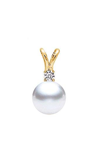 14k Yellow Gold AAAA Quality Japanese Akoya Cultured Pearl Diamond Pendant (7.5-8mm) (Diamonds 8mm Akoya Pearl Pendant)