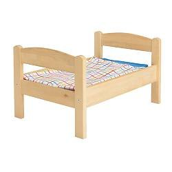Ikeas DUKTIG Doll bed with bedlinen set, pine, multicolor