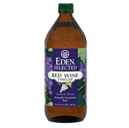 Eden Selected - Red Wine Vinegar - Naturally Fermented Raw (Aged in Wood), Save with TWO Glass Bottles, Each is 32 Oz / 1 Qt / 946 Ml (Pack of 2) by Eden