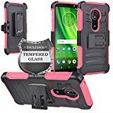 Z-GEN - Motorola Moto G6 Play, Moto G6 Forge XT1922, Moto E5 (5.7) XT1920DL - Hybrid Armor Case w/Stand/Belt Clip Holster + Tempered Glass Screen Protector - CV2 Hot Pink