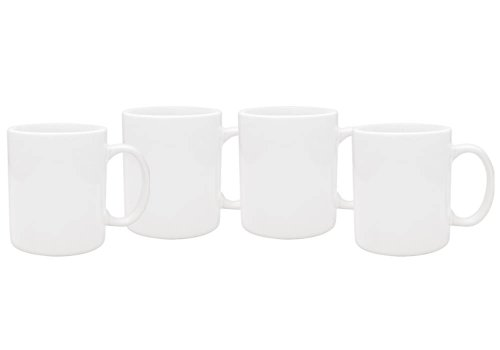 Culver 11-Ounce Hampton Ceramic Mug, White, Set of 4 (Ceramic Mug)