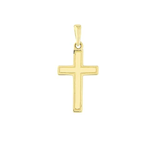 Beauniq 14k Yellow Gold Etched Outline Cross Pendant 14k Gold Etched Cross
