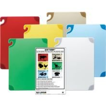 San Jamar CBG1218KC 6 Piece Saf-T-Grip Co-Polymer Board System Set with Color Coding Chart, 18