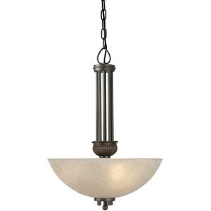 03 Forte Ceiling Lighting - Forte Lighting 2352-03-32 3-Light Traditional Pendant, Antique Bronze Finish with Mica Flake Glass