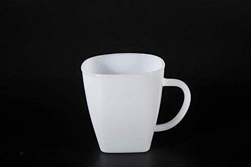 White Milk Glass Mugs - Glass Mugs Coffee Cups 17oz (500ml) with Handles for Espresso Juice Water Milk Set of 2 Jade White