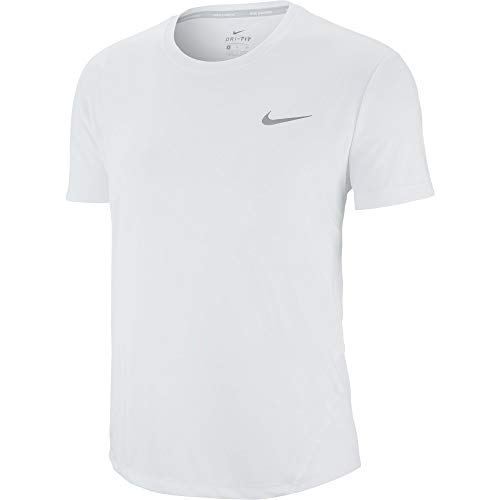 (Nike Womens Miler Top Short Sleeve White/Reflective Silver SM)