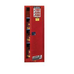 Justrite Sure-Grip EX 54 gal Red Steel Hazardous Material Storage Cabinet - 23 1/4 in Width - 65 in Height - Floor Standing - 895401 [PRICE is per EACH]
