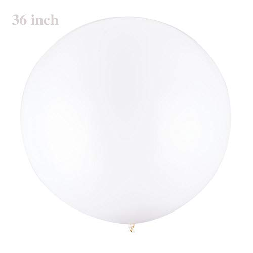 YESON 36 Inch Round Latex Giant Balloons Large White Party Balloon,Pack of 4 -