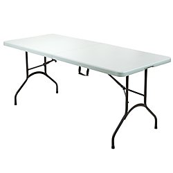 Realspace(R) Molded Plastic Top Folding Table, 6ft. Wide Fold in Half, 29''H x 72''W x 30''D, Platinum by Realspace